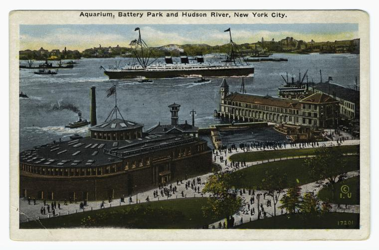 Aquarium, Battery Park and Hudson River, New York City