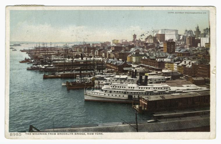 The wharves from Brooklyn Bridge, New York.
