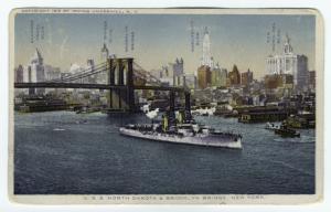 U.S.S. North Dakota & Brooklyn Bridge, New York.