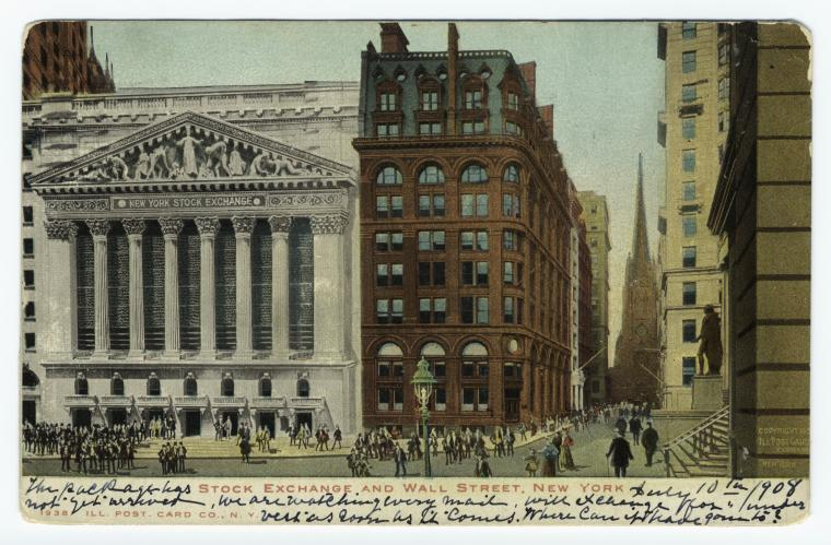 Stock Exchange and Wall Street, New York.