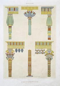 Architecture: détails de colonnettes en bois (tirés de divers hypogées)