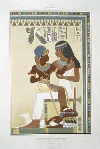 Peinture : Amounôph II et sa gouvernante : nécropole de Thèbes (XVIIIe. dynastie)