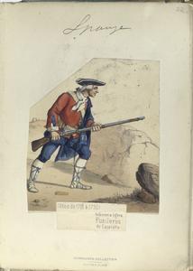 Infanteria ligera. Fusileros de Cataluña. (Años de 1718 á 1750)