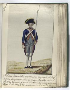 Melicias Provinciales, constan estos Cuerpos de  42 Regimientos, compuestos todos de vn solo Batallon sobre el pie de los Veteranos, y fueron creados en dos ocasiones a saver 28 en el año 1734 y los 14 restantes en el Año de 1766 (1797).