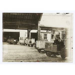 Handling freight at the Cedar Hill, Conn., Freight Terminal.