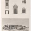[1. et 2. Temple monolythe (Philée); 3-5. Porte latérale, soubassement des balcons et fenétre du palais attenant au temple de Thébes (Medinet-Abou)]; [6.] Vue d'un temple de Thèbes à Kournou [Qurna].