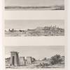 1. Vue de Thèbes du plus loin qu'on peut l'appercevoir. 2. Vue de Qarnâq [Karnak]. 3. Autre vue de Qarnâq [Karnak]