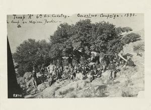 "Troop ""A"" 6th cavalry, Geronimo campaign, 1885, camp on Mexican border"