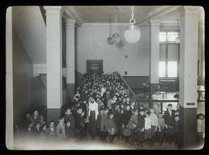 Seward Park, April, 1910, children entering Children's room