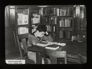 Fordham, boy in reading room after a book talk