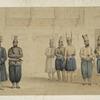 Cabul : retinue of Shah Shoojau Ool Moolk, Mahomed Shah Giljee, chief executioner, Ghufoor, a mutilator