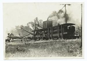 Steam Derrick loading Logs on to a Railway Car, Louisiana.