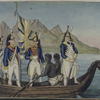 Dutch soldiers in a boat with slaves from the Colonies, Africa]