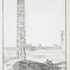 Obélisque, dit de Cléopatre, à Aléxandrie, vu du côté de l'ouest, qui est le mieux conservé. (a. Obelisque cassé, et couché par terre, à moitié enséveli).