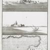 a. Le Chateau de Bokkier, vu du côté du Nord; b. Vue du côté l'Orient meridional; c. Plan du Chateau avec son Port.