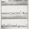 Fig. 1. Vue de la Ville de Rosette; Fig. 2. Chateau de Rosette éloigné de la Ville de quelques lieuës, et situé au bord du Nil; Fig. 3. Vue du Village de Deruth sur le bord du Nil.