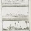 Fig. 1. Scheck Ghadder, à la gauche, sur le bord du Nil, quand on entre; Fig. 2. Carullo de Meresel; Fig. 3. Mosquée, à quatre lieues de Rosette, du côté du midi.