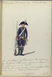 Vereenigde Provincien der Nederlanden. Een constapel af Canonier ten Lyde van den Kolonel later [...] Generaal Majoor R. L Paravicini di Capelli. NR de Canonicas [...] gezwind pijp... en den [...] van kleine patroontassen.
