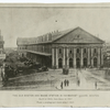 The old Boston and Maine Station in Haymarket Square, Boston. Built in 1845, torn down in 1897. From a photograph made about 1865.