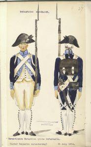 Bataafsche Republiek. Zeventiende Bataillon Linie Infanterie (Later bepaalde verandering).  31 July 1804