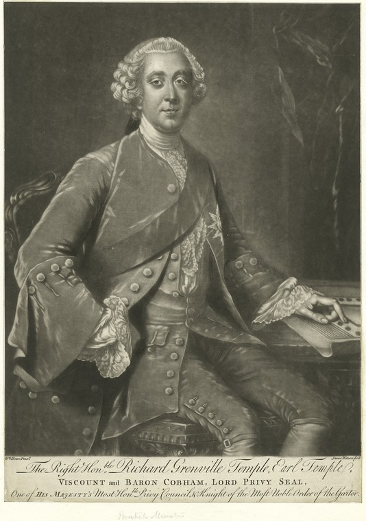Fascinating Historical Picture of Richard Grenville-Temple Temple in 1780
