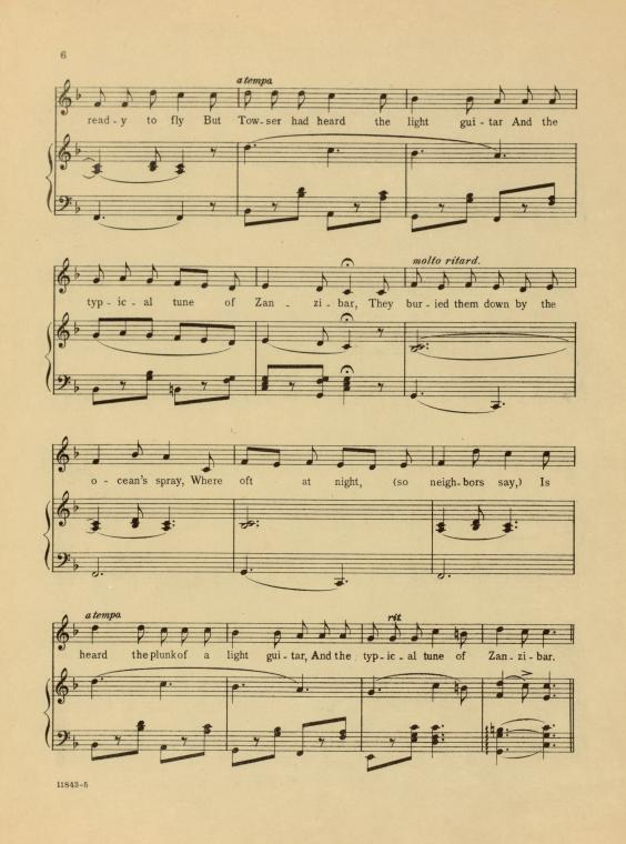This is What John Philip Sousa and El capitan. A typical tune of Zanzibar. Vocal score Looked Like  in 1896