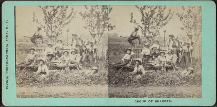 Stereoview of Brother Nehemiah White (on right, without hat) and Shaker boys at the Watervliet, NY Shaker Village, circa 1870.