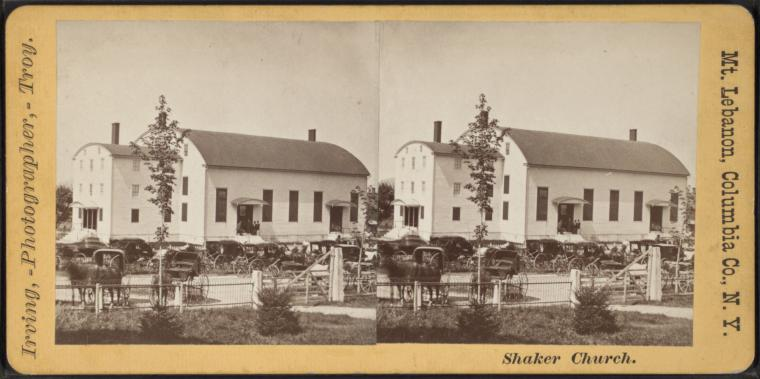 Stereoview of the Meeting House at Mount Lebanon Shaker Village