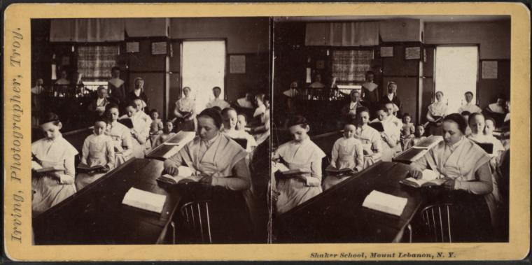 Stereoview of the Shaker School in the Church Family at Mt. Lebanon Shaker Village