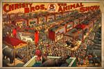 Christy Bros. 5 ring wild animal show circus poster