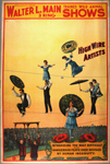 Walter L. Main 3 ring trained wild animal shows circus poster