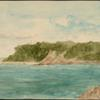 [A river and its rocky shore with a walk leading to a dockside building, a promontory.]