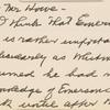 [Notes on] Emerson Essays -- 1st Series -- copyrighted 1847. Holograph MS, unsigned, undated.