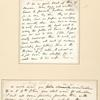 Writing letters by the bed-side &  in Armory Ward C [Entire leaf, showing the rectos of the two Whitman manuscripts, mounted on the larger leaf one above the other.]