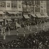 Suffrage parade in May 1913, Fifth Avenue, from reviewing stand in front of public library, N.Y.]