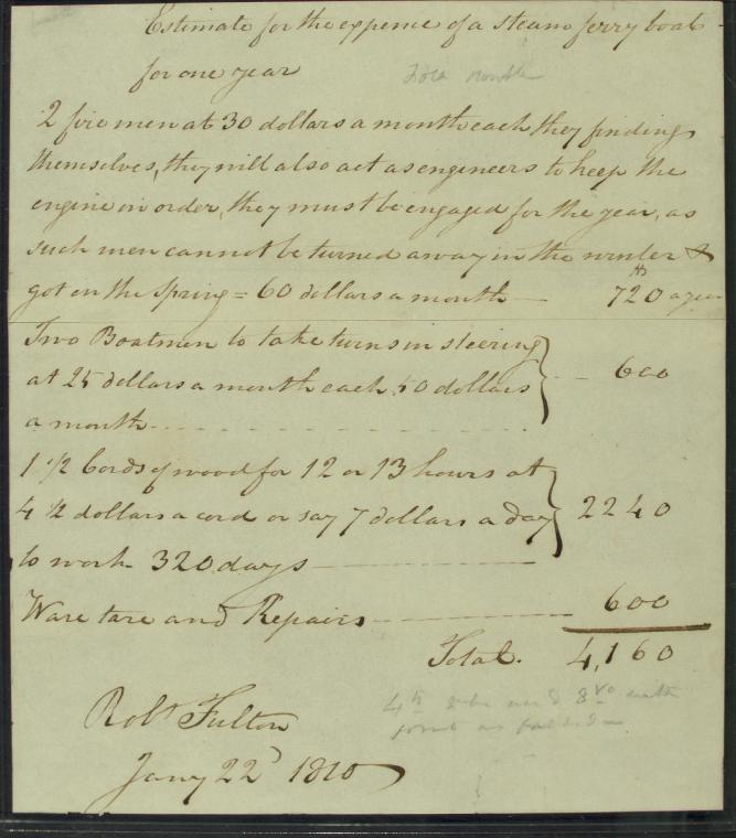 This is What Robert Fulton and Estimate for expense of a steam ferry boat for one year signed by Robert Fulton Looked Like  in 1790