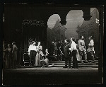 Maurice Evans, Lili Darvas and unidentified others in the stage production Hamlet
