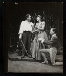 Maurice Evans, Lili Darvas and unidentified other in the stage production Hamlet