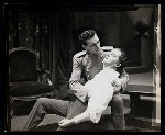 Maurice Evans and unidentified actor in the stage production Hamlet