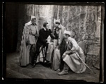 Maurice Evans and unidentified actors in the stage production Hamlet