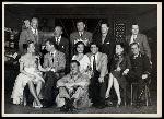 l to r (standing): George Abbott (direction), Richard Rodgers (music), Oscar Hammerstein II (lyrics), Robert Alton (choreography) and Jo Mielziner (set design) l to r (seated): Joan McCracken (Betty Loraine), Ray Walston (Mac), Mark Dawson (Bob), Isabel Bigley (Jeanie), Bill Hayes (Larry), Irene Sharaff (costumes) and Jackie Kelk (Herbie) in rehearsal for Me and Juliet