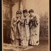 "Geraldine Ulmar, Kate Forster, and Geraldine St. Maur as ""The little maids from school"" in the D'Oyly Carte Opera Company stage production The Mikado (Gilbert And Sullivan)."