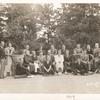 1934. Top row: John Duke, Arthur Berger, unidentified man, Martin Craig, unidentified man, James T. Farrell, Joseph De Martini, Alexander Godin. Near flowerpot: Irving Fineman, Muriel Rukeyser. On bench: Dorothy Farrell, Roy Harris, Walter Quirt, Jean Liberté, Elizabeth Ames, Eugene Joffe, Ann Rivington, John Cheever. On pillows:Louis Hechenbleikner, Christl Hechenbleikner, unidentified man.