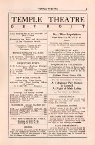 Temple Theatre program, week commencing Jan. 16, 1914.