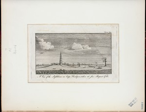 A view of the lighthouse on Cape Henlopen, taken at sea, August 1780.