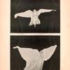 Two images of Loie Fuller dancing in a white costume.