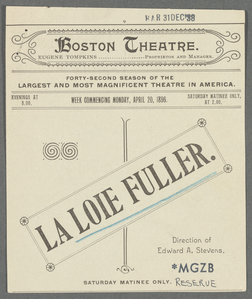 Boston Theatre - La Loie Fuller.