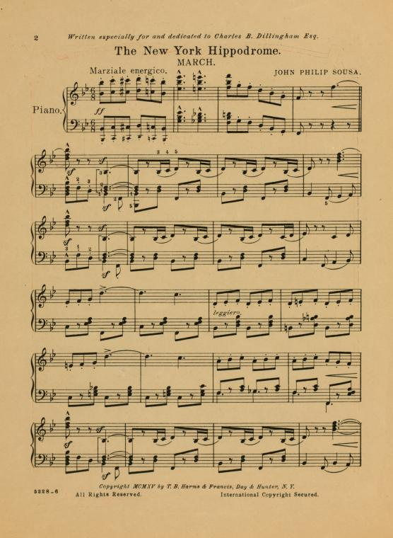 This is What John Philip Sousa and The New York Hippodrome : march Looked Like  in 1915