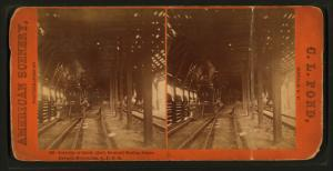 Interior of snow shed, Summit Station, Sierra Nevada Mountains, C.P.R.R.