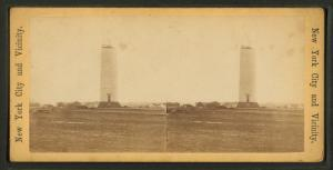 [View of the Washington monument, including constuction scene showing scaffolding.]
